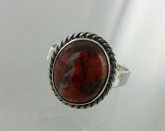 Vintage Red Turquoise Sterling Silver Ring Sz 6