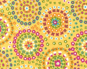 Ring of Flowers, Sunshine Fabric by Michael Miller