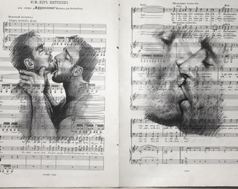 Gay erotic poster 1 double pade / gay Male kiss / Printing Antique  sheet music page  decor interior picture ART erotic