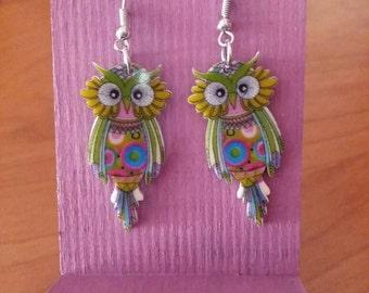GREEN OWL EARRINGS