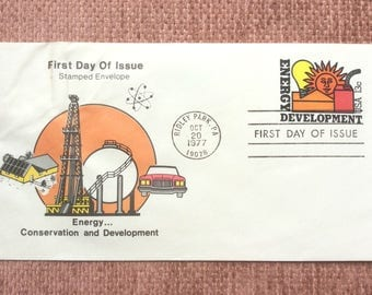 Energy Development First Day Issue US Postage Stamp Stamped Envelope FDC 1977 Ridley Park PA Energy Conservation