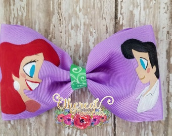 Ariel and Eric the little mermaid hand painted bow tie hair bow cosplay dress up girl accessories