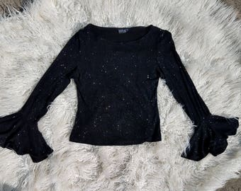 Witchy, Grunge, Sparkly, Goth, 90s, Bell-Sleeved Top