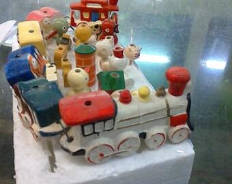 VINTAGE CIRCUS TRAIN birthday cake decorative candle holders
