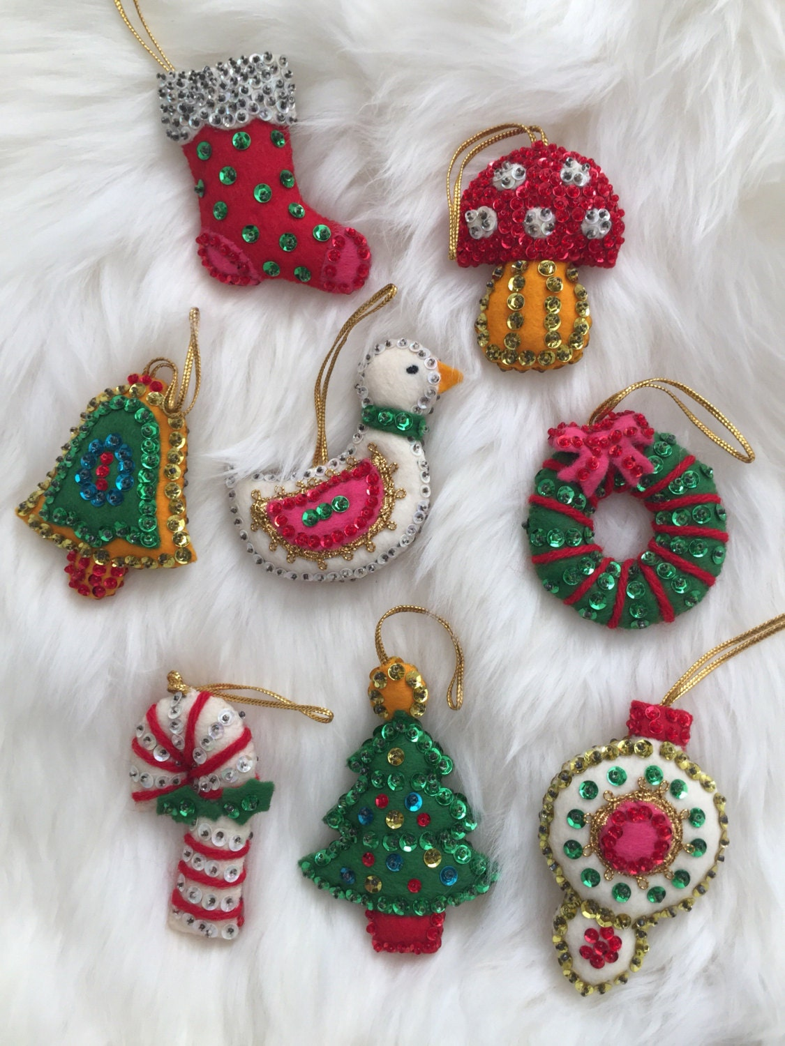 Vintage Bucilla Felt Christmas Ornaments tree bell ornament
