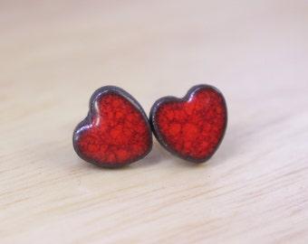 Red Ceramic Earrings, Red Heart-shaped Earrings, Red Hearts Earrings, Ceramic Stud Earrings, Ceramic Jewelry, Polish Ceramics