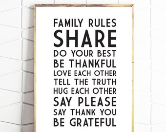 family rules printable, family rules download, family rules poster, family rules sign, family rules instant art, family rules wall decor