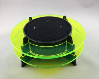 Echo Dot Stand - Florescent yellow rings with black base