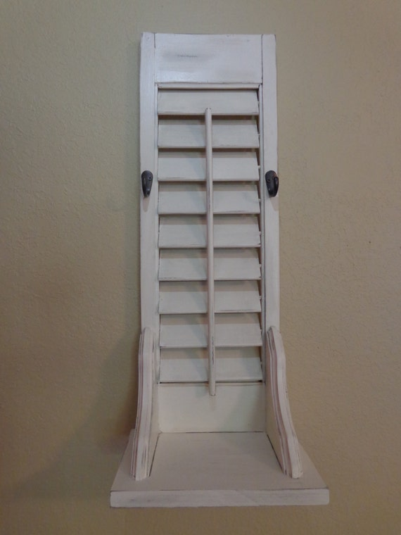 vintage shutter shelf with hooks shutter shelf wall hanging. Black Bedroom Furniture Sets. Home Design Ideas