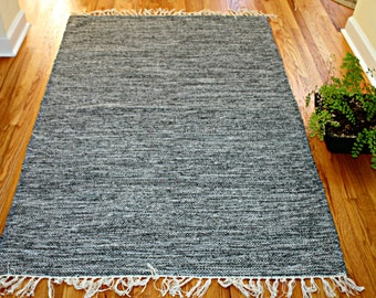 Vintage Rug 4x6 ft, Shades of Gray Mixture, 100% Cotton, Reversible Rug Hand Woven Kilim Rug Dhurrie Rug Tapestry