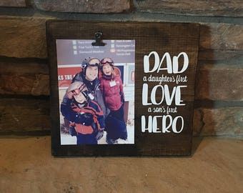 Father's Day Frame, Hero Dad Frame, Love Dad Frame, Father Clip frame, Dad Frame, Wood Frame, Wood Sign Frame, Son and Daughter Frame
