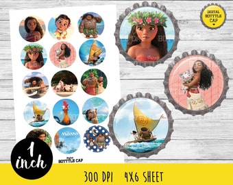 50% OFF SALE Moana Bottlecap-1 inch Bottlecap-Printable Image-Moana collage sheet-Princess bottlecap-Disney bottlecap-Moana 1 inch-COD117