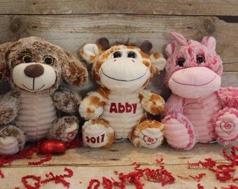 Personalized Soft Plush Animals for Valentines, Plushies, Personalized Animals, Giraffe, Teddy Bear, Unicorn, Elephant, Monkey, Dinosaur