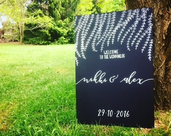 Wedding Sign | Chalkboard Wedding Sign | Wedding Welcome Sign | Personalised Wedding Sign | Rustic Wedding Sign | Wedding Signs