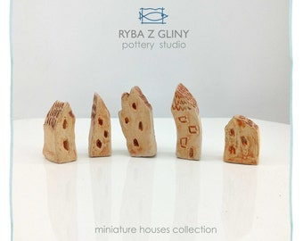 Five Houses - miniature pottery houses, Ceramic houses, Small clay houses, Tiny house
