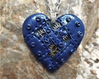 Great necklace heart Blue Metallic in fimo steampunk