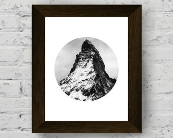 black white mountain photography, nature wall art print, circle photo poster, printable artwork, instant digital download, scandinavian art