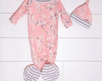 Knotted Newborn Mermaid Gown Pink Cherry Blossoms