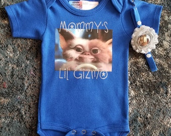 Mommy's Lil Gizmo Blue Onesie with Headband Size 0-3 Months