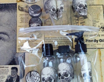 Day of the dead Skull decorated travel set with fillable bottles & pots. Great Christmas gift- secret Santa - stocking stuffer
