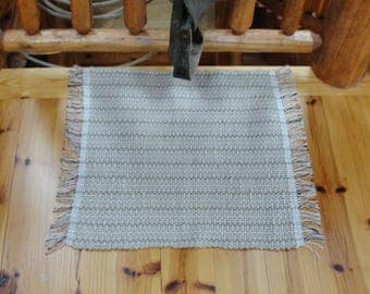 "Hand Woven Rag Rug Sandy Tan Measures 25""x27"" Item#118F"