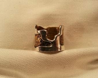 Wide Band Sterling Silver and Brass Ring