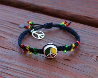 Peace Sign Black Hemp Bracelet