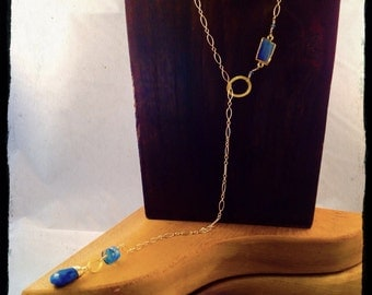 Vermeil Chain Lariat with Gold leaf Kyanite focal piece,lustrous faceted Chrysocolla Pear Drop,Gold Gemstone Lariat,Boho,wedding,Valentine