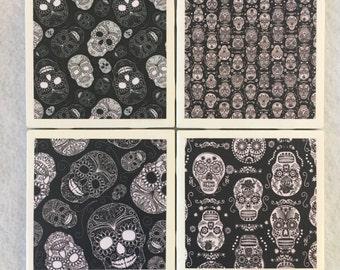 Goth Ceramic Tile Coasters Black and White