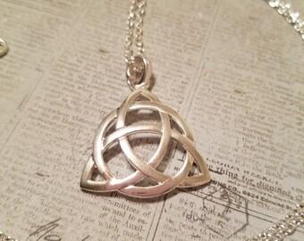 Sale Sterling silver celtic knot necklace