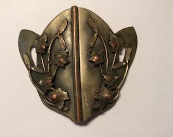 Vintage Brass Art Nouveau Belt Buckle