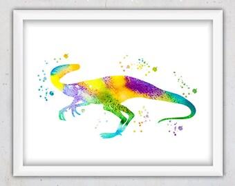 Velociraptor Print, Dino Print, Nursery Dinosaur Print, Animal Print, Digital Printable Animal Art Print, Watercolor Kids Wall Art Girl