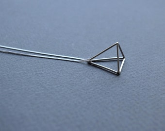 Tetrahedron Necklace | Sterling Silver 3D Triangle Necklace | Geometric Pendant Necklace