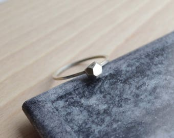 Sterling Silver Faceted Nugget Ring | Modern Geometric Ring | Faceted Silver Ring | Geometric Ring | Stackable Ring
