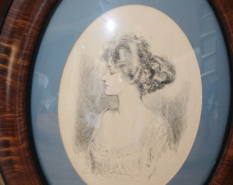 Vintage Charles Dana Gibson Print - Gibson Girl in Wood Frame - Antique 1950's