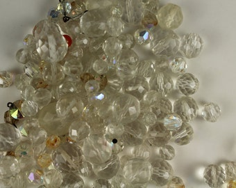 Vintage Collection Of Clear Glass Faceted Beads - Circa 1970's- #298