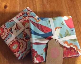 Birds and floral design - very William Morris! - Fat Quarter bundle of 6 beautiful 100% cotton fabrics