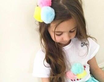Pom pom hair clip, girl, hairband, trio
