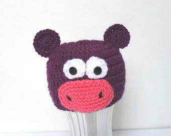 Crochet Purple Hippo hat with ears, white and pink, hippopotamus