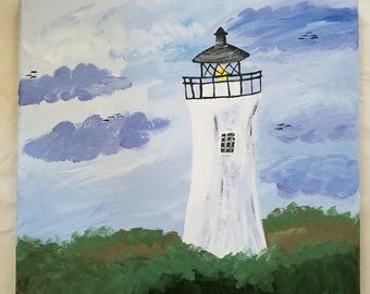Lighthouse Painting Acrylic Canvas Art 10x10