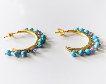 Gold Plated Earring,  Turquoise stone and iloite