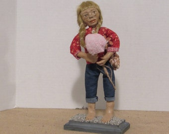 "OOAK Art Doll. Polymer Clay Doll, ""Penny"" At the Fair, Handmade Doll by Sherry Harrison  **Free Shipping"