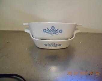 Set of Two ~ 12 oz Corningware Blue Cornflower Dishes