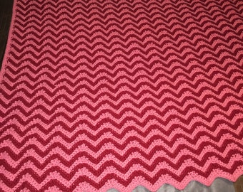 Valentine's Day Afghan gift idea, heart blanket, stripe blanket