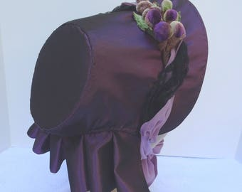 1860's Reproduction Victorian Bonnet Purple Taffeta, trimmed with spotted net and velvet grapes