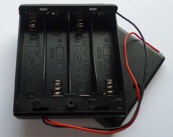4 AA 6v Enclosed Battery Box with Slide Switch and Lid - H107