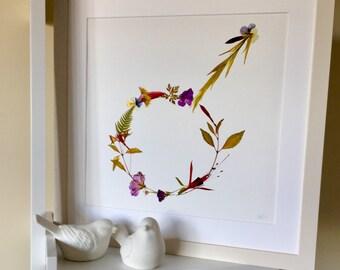 Pressed wild flower Mars symbol Giclée print on fine art etching paper