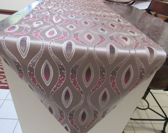 "Table Runner, Tan, Brown and Red, 69"" Long x 19"" Wide"