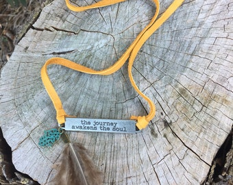 Suede and metal, boho necklace, with inscription, the journey awakens the soul, boho jewelry, boho necklace, feathers, suede jewelry