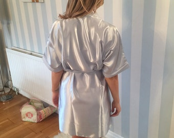 Bridal Robes, bridesmaid, mothers, personalised wedding dressing gown - Grey